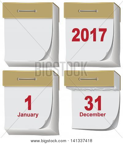 Set of tear off calendar 2017. Illustration in vector format