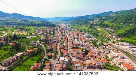 Aerial view of the Alpone valley near the town of San Giovanni Ilarione Italy.