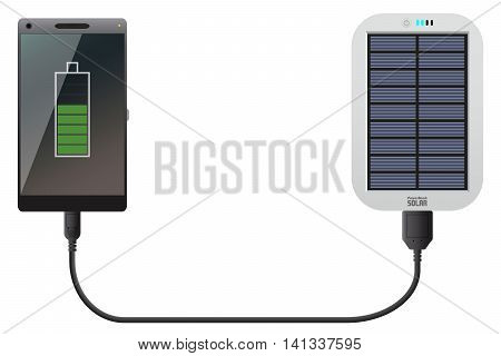 Illustration of a Power Bank Solar with Phone