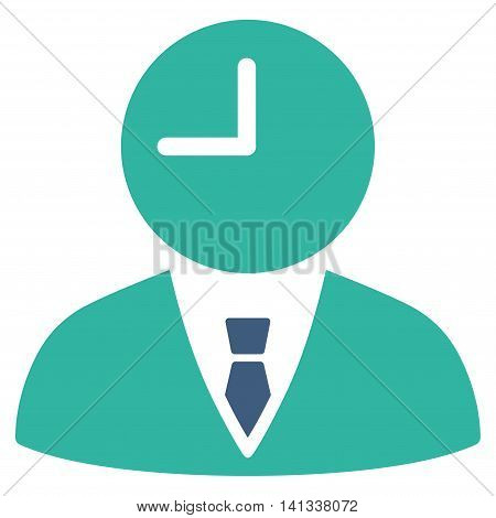 Time Manager vector icon. Style is bicolor flat symbol, cobalt and cyan colors, rounded angles, white background.