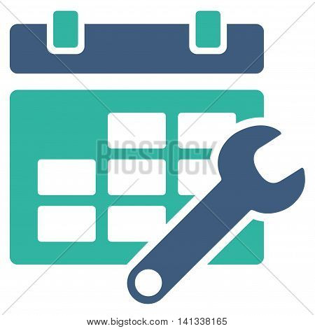 Timetable Setup vector icon. Style is bicolor flat symbol, cobalt and cyan colors, rounded angles, white background.