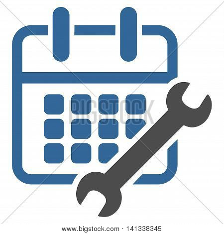 Appointment Configure vector icon. Style is bicolor flat symbol, cobalt and gray colors, rounded angles, white background.
