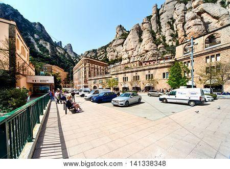 Montserrat Spain - April 6 2016: Spectacular Montserrat mountains and Benedictine monastery of Santa Maria de Montserrat near Barcelona. Spain