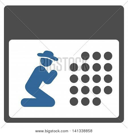 Pray Organizer vector icon. Style is bicolor flat symbol, cobalt and gray colors, rounded angles, white background.