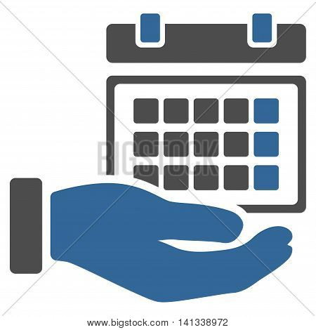 Service Timetable vector icon. Style is bicolor flat symbol, cobalt and gray colors, rounded angles, white background.