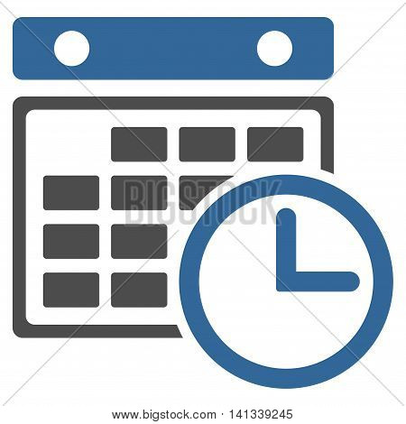 Timetable vector icon. Style is bicolor flat symbol, cobalt and gray colors, rounded angles, white background.