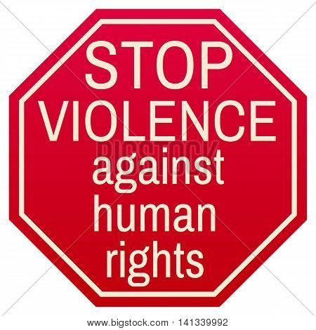 Stop violence against human rights red symbol isolated on white background