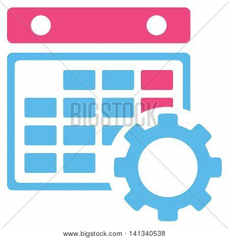 Appointment Settings vector icon. Style is bicolor flat symbol, pink and blue colors, rounded angles, white background.