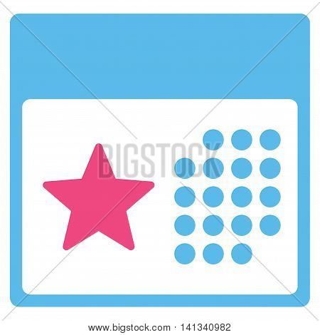 Holiday Organizer vector icon. Style is bicolor flat symbol, pink and blue colors, rounded angles, white background.