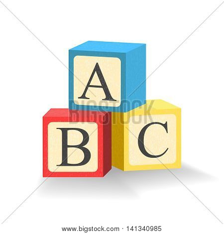 ABC blocks. Toy cubes with alphabet letters. Isolated illustration. Vector.