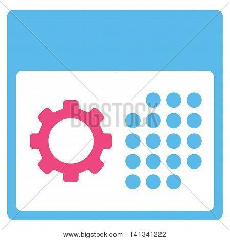 Service Syllabus vector icon. Style is bicolor flat symbol, pink and blue colors, rounded angles, white background.