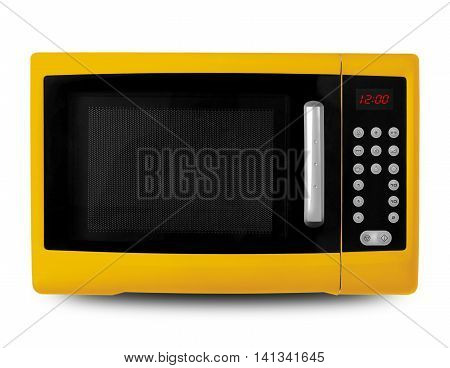 Household appliances - Yellow digital Microwave on an white background.