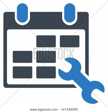 Configure Timetable vector icon. Style is bicolor flat symbol, smooth blue colors, rounded angles, white background.