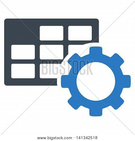 Schedule Setup vector icon. Style is bicolor flat symbol, smooth blue colors, rounded angles, white background.