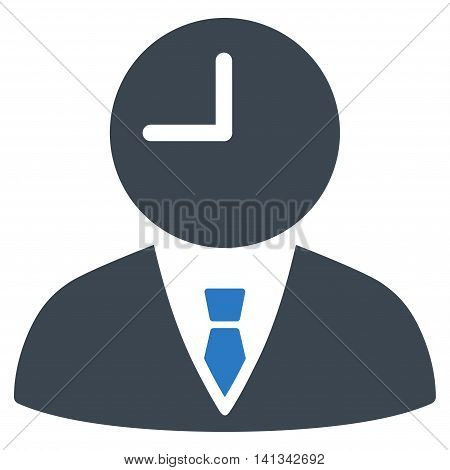 Time Manager vector icon. Style is bicolor flat symbol, smooth blue colors, rounded angles, white background.