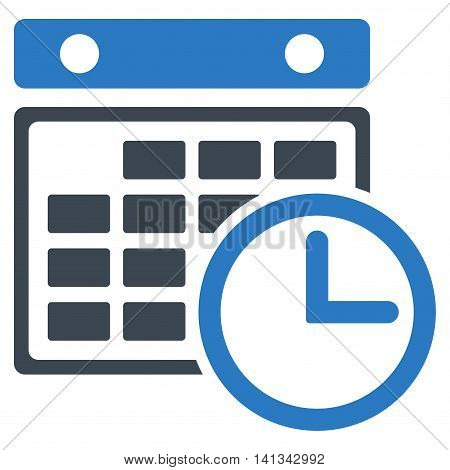Timetable vector icon. Style is bicolor flat symbol, smooth blue colors, rounded angles, white background.