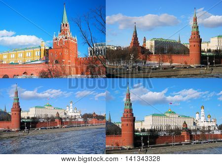 Moscow Kremlin panorama collage of 4 fotos. UNESCO World Heritage Site.