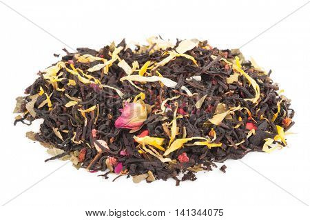 Black dry tea with fruits and petals