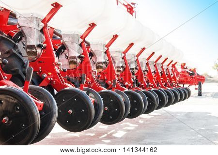 The new industrial agricultural seeder close up