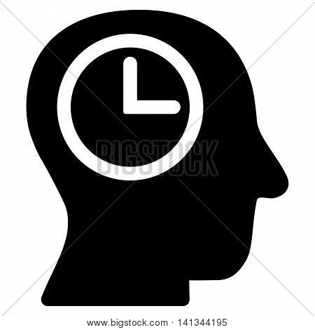 Time Manager vector icon. Style is flat symbol, black color, rounded angles, white background.