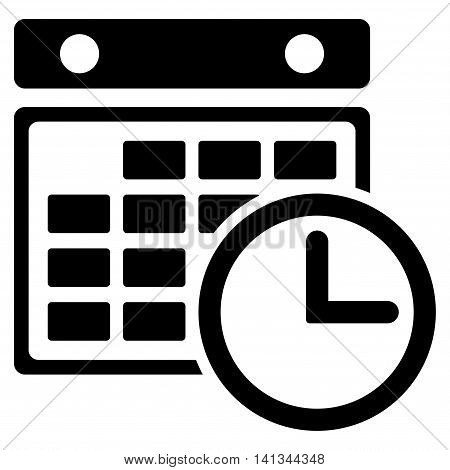 Timetable vector icon. Style is flat symbol, black color, rounded angles, white background.