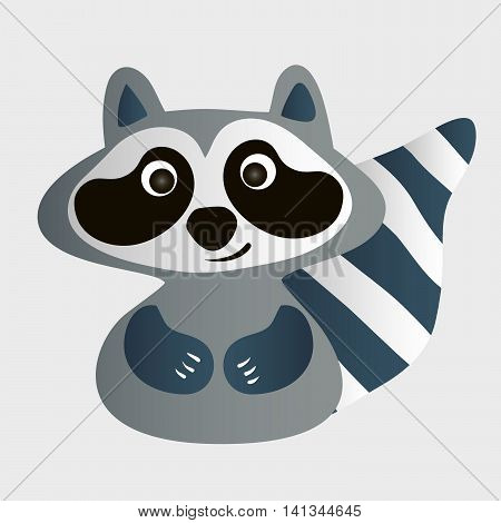 Cute cartoon raccoon with a striped tail on a light gray background