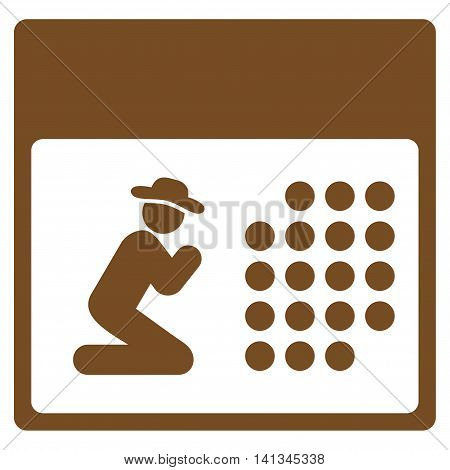 Pray Organizer vector icon. Style is flat symbol, brown color, rounded angles, white background.
