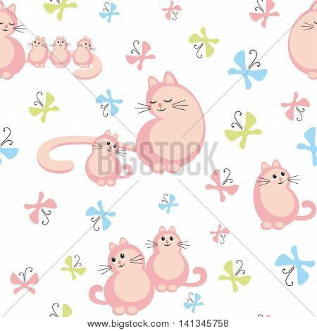 Colorful children's seamless pattern in cartoon style with the image of mother cat and little kittens
