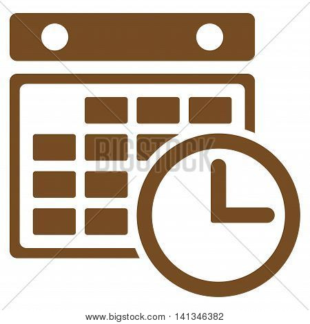 Timetable vector icon. Style is flat symbol, brown color, rounded angles, white background.