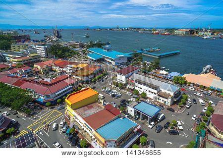 Labuan,Malaysia-Aug 4,2016:View of the city of Labuan town,Malaysia.Labuan Town is the capital of the Federal Territory of Labuan in Malaysia.One of three federal territories in Malaysia.