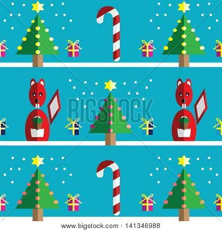 Christmas Seamless pattern with squirrel holding acorn with  gifts with ribbon, snow,  Xmas trees with  pink, blue, orange lights and star element in 2 shades on night  blue background