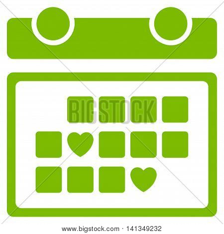 Favourite Days vector icon. Style is flat symbol, eco green color, rounded angles, white background.