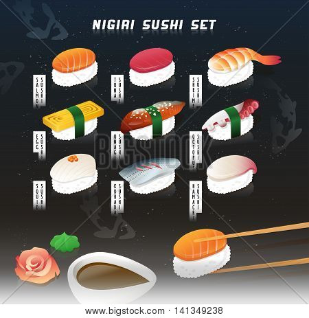 Chopsticks and sushi, with soy sauce and wasabi on the foreground.