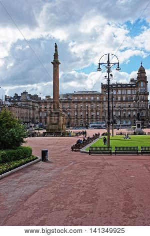 George Square In The City Center Of Glasgow
