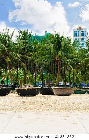 Palms And Bamboo Boats At China Beach Danang Vietnam