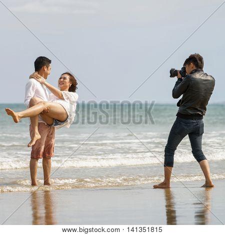 Young Couple Posing At The China Beach In Danang Vietnam