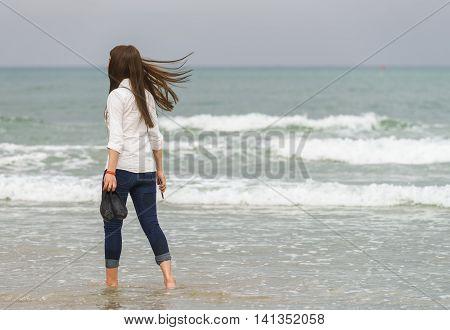 Young Girl At The China Beach Danang In Vietnam