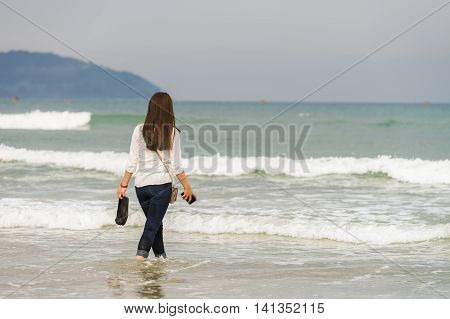 Young Girl On The China Beach In Danang In Vietnam