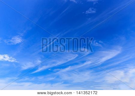 Beautiful blue sky with clouds in winter