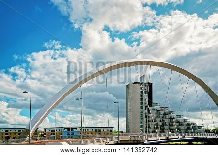 Clyde Arc Over Clyde River In Glasgow