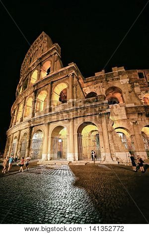 Colosseum In The City Center Of Rome Italy At Twilight