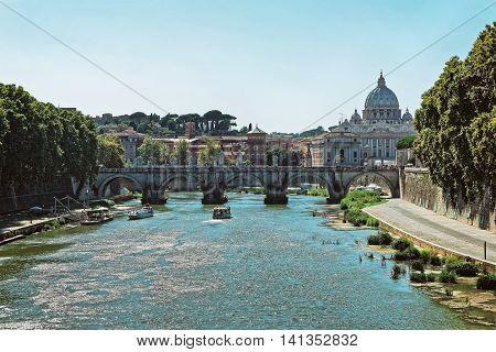 Dome Of Saint Peters Basilica And Ponte Sant Angelo Bridge
