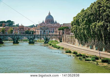 Dome Of Saint Peters Basilica And Ponte Sant Angelo