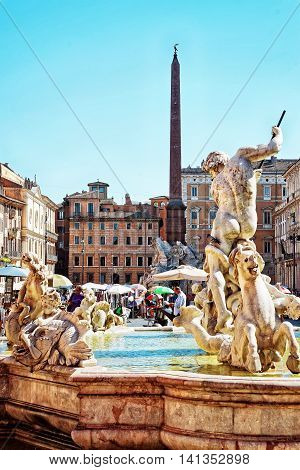 Fountain Of Neptune Fountain Of Four Rivers In Piazza Navona