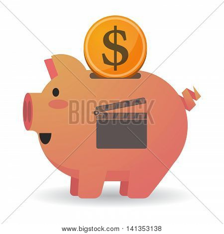 Isolated Piggy Bank Icon With A Clapperboard