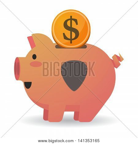 Isolated Piggy Bank Icon With A Plectrum