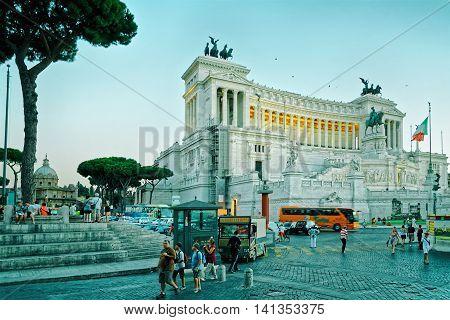Monument Of Victor Emmanuel In Piazza Venezia In Rome Dusk