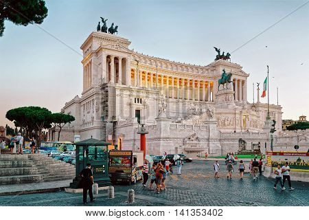 Monument Of Victor Emmanuel In Piazza Venezia In Rome Twilight