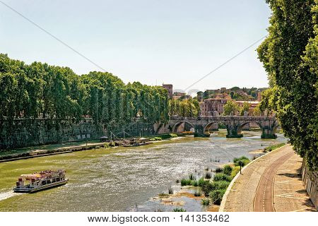 Ponte Cavour Bridge Over Tiber River In Rome In Italy