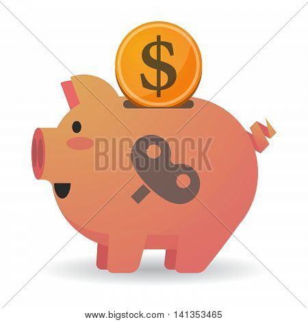 Isolated Piggy Bank Icon With A Toy Crank